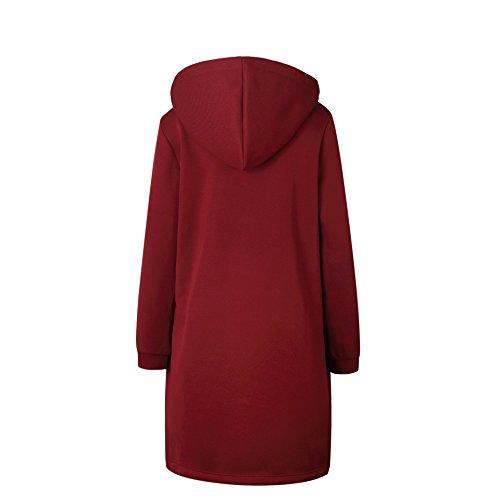 Lunga Giacca Parka Cappotto Elegante Invernale Cappuccio Donna Rosso Cardigan Casual Con Bainasiqi qXB6w4n