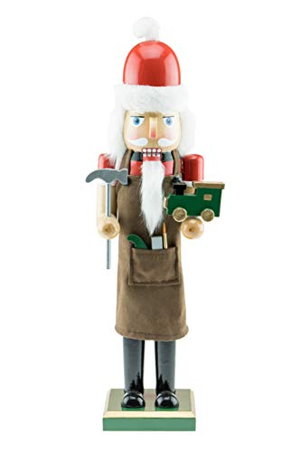 Clever Creations Toy Maker Santa Wooden Nutcracker - Holding Toy Train and Hammer- Traditional Festive Christmas Decor - 15 inch - Perfect Holiday Decoration for Shelves and Tables - Solid Wood