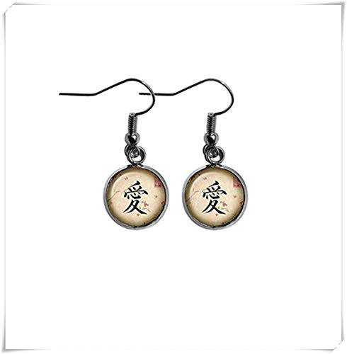 memory Japanese Calligraphy Kanji Love Flag Earrings,Dome Glass Ornaments, Personalized Earrings, Gifts for Loved Ones