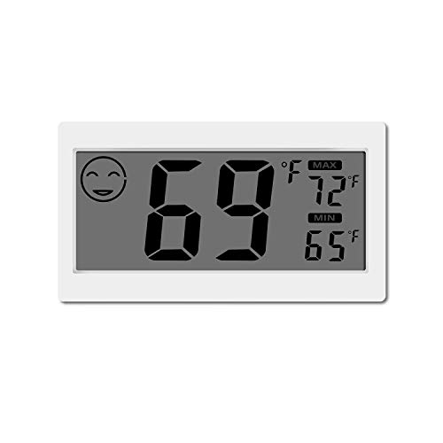 PINGGE Digital Thermometer Indoor Hygrometer Temperature Monitor Humidity Meter Gauge with 3.3 inch LCD Stand Wall Hanging Magnet for Household Office Greenhouse House Room Kitchen Car White Color ()