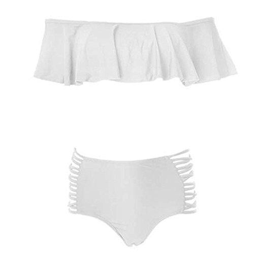 Vandot Traje de Baño de Dos Piezas para mujer con Volantes Sin Tirantes Bikini Set Señoras Vendaje Bañadores Bandeau Ruffles Cintura Alta Swimsuit Ropa de Baño, Azul S-XL Puro White