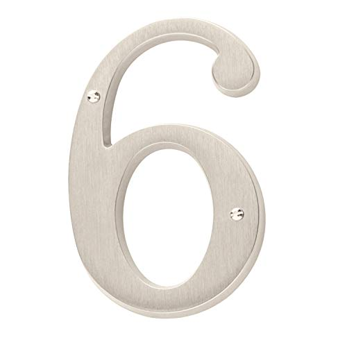 (Baldwin Estate 90676.150.CD Solid Brass Traditional House Number Six in Satin Nickel, 4.75