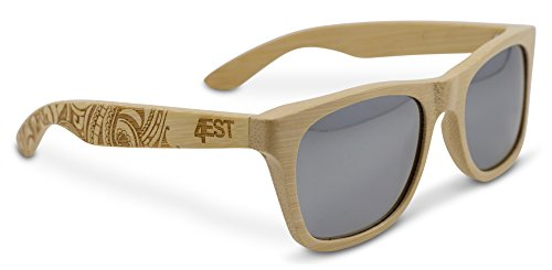Bamboo Wood Sunglasses -Polarized handmade wooden shades in a wayfarer that Floats! Natural