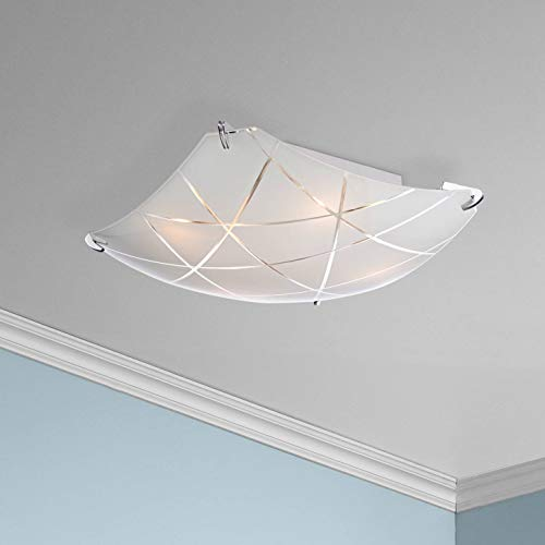 Lattice Modern Flush Mount Ceiling Light Fixture Chrome 16 1/2