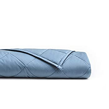 Image of YnM Bamboo Weighted Blanket with 100% Pure Natural Bamboo Viscose | 15 lbs for 90-150 lbs Individual, 48'x 72' | Luxury Cooler Version Weighted Blanket, Blue Grey YnM B07C1DBNYP Weighted Blankets