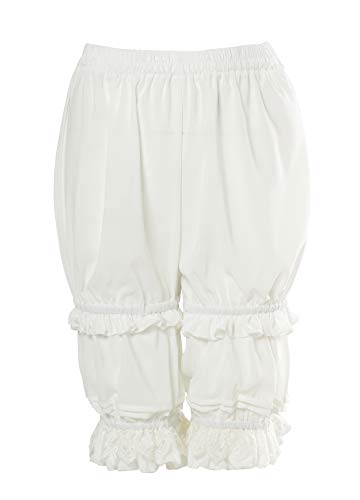 (Nuoqi Women's Sweet Lolita Bloomers Novelties Steampunk Pantaloons White)