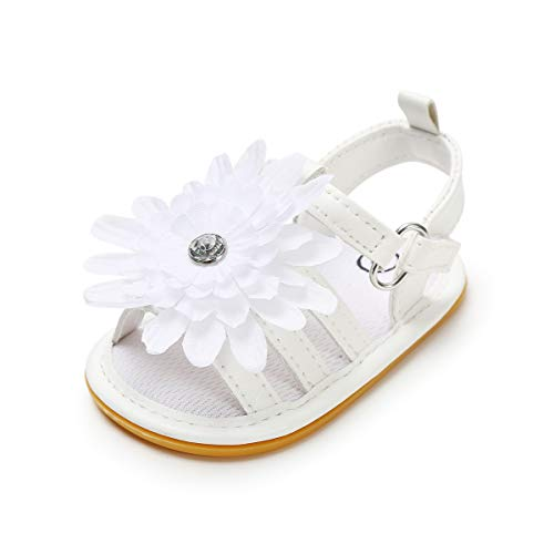 Meckior Baby Toddler Infant Girls PU Leather Soft Closed Toe Summer Sandals Flower Princess Flat Shoes (12-18 Months M US Toddler, B-White)