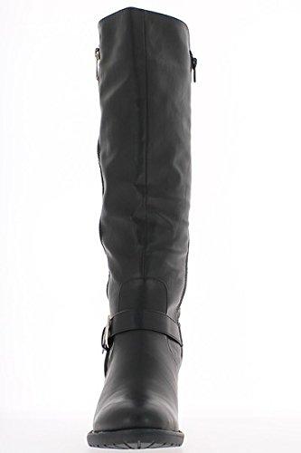 Stivali donne nere raddoppiate a 7cm imbottito tacco grosso Rod