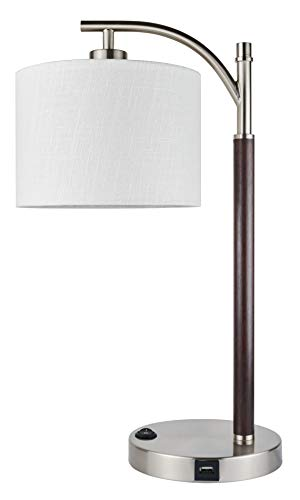 "Kira Home York 18"" Minimalist LED Table Lamp + 7W Bulb (Energy Efficient/Eco-Friendly) + White Drum Shade - Modern Standing Arc Light with Hanging Lamp Shade, Brushed Nickel Finish + Wood Style Body"