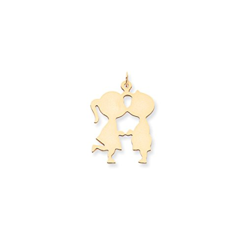 14k Yellow Gold Medium .013 Gauge Engravable Boy Girl Kissing Pendant Charm Necklace Disc Left Facing Front Fine Jewelry For Women Gift Set