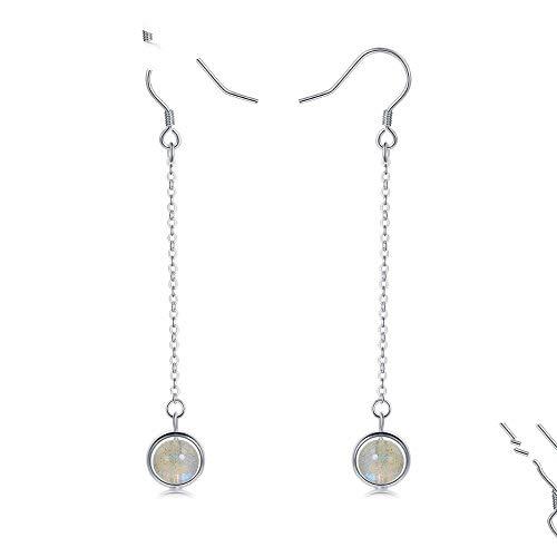 QMM earring Pendant earrings s925 Silver Long Tassel Natural Moonlight Crystal Drop Earrings for Women Sterling Silver Jewelry Girl Accessories Unique Party