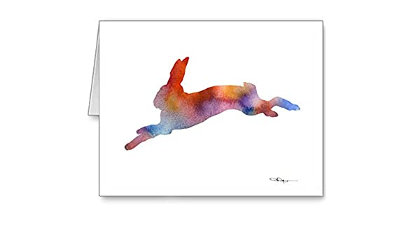 Amazon com : Running Hare - Set of 10 Rabbit Note Cards With