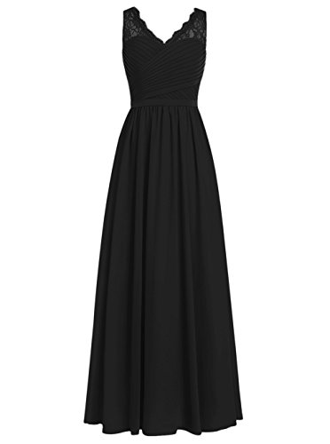 DRESSTELLS Long Bridesmaid Dress V-Neck Chiffon Prom Dress Lace Evening Dress Black Size14