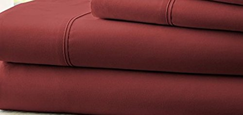 [Hotel Comfort 1800 Count Deep Pocket 4 Piece Bed Sheet Set Red TWIN XL] (Novel Halloween Costume Ideas)