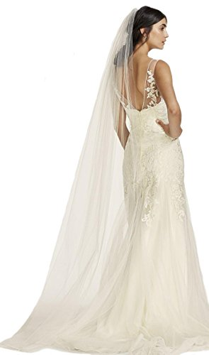 Passat Diamond White Single-Tier 3M Pencil Edge Cathedral Wedding Veil DB34 by Passat
