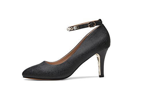 NEB ANGEL Women's Ankle Strap Pumps Kitten Heel Almond Toe S
