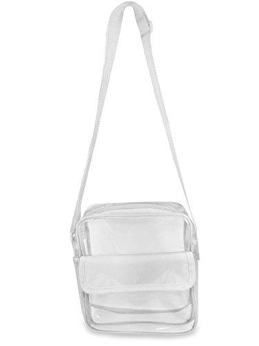 Gameday Stadium Approved Clear Messenger Bag Clear Shoulder Bag Transparent Purse with Adjustable Strap (Snow White Handbag)
