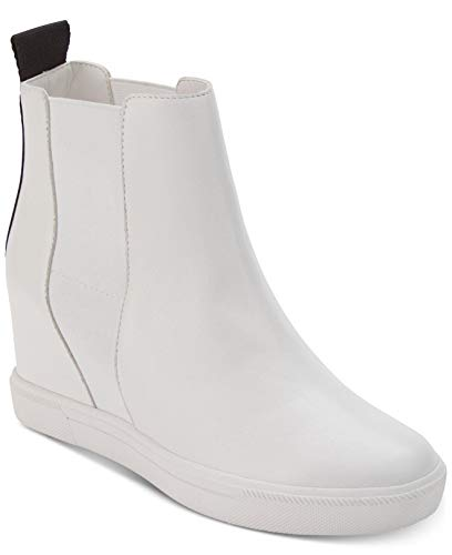 DKNY Womens Coley Leather Closed Toe Ankle Fashion Boots, White, Size 7.0