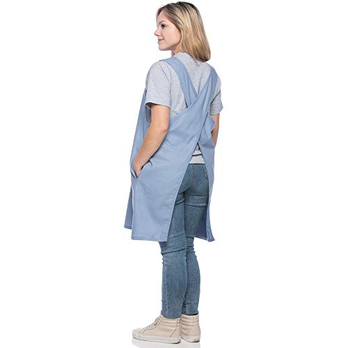 SMN Goods Premium Soft Cotton/Linen Blend Apron - Cross Back Apron, X-Shaped Apron, Japanese Style Apron, Perfect for Kitchen, Gardening, and Daily Chores. (Sky Blue, Plus) -