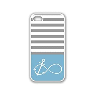 Anchored-Forever Aqua & Grey Stripes White iPhone 5 Case - For iPhone 5/5G - Designer PC Case Verizon AT&T Sprint hjbrhga1544