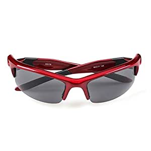 LUKEEXIN Polarized Sports Sunglasses PC TR90 Half Frame for Adult Men Women Outdoor Driving Cycling Anti-UV Non-Slip (Color : Red)