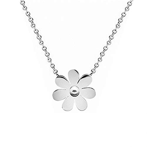 Womens Girls Fashion Stainless Steel Vintage Daisy Flower Pendant Necklace