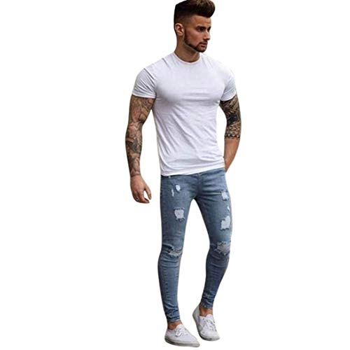 Cyclist Denim Hip Hellblau Ripped Dunn Fit Jeans Tapered Da Elasticità Hop Giovane Rt Skinny Uomo Pants Slim Pantaloni Nn Stretchy rr6pq0wH