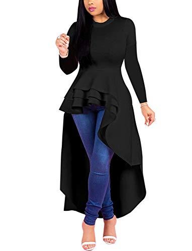 (Fashion High Low Tops for Women - Unique Ruffle Long Sleeve Tunic Shirt (Small Black))