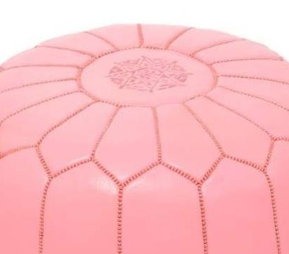 Light Pink Premium Handmade Moroccan Leather Pouf,Ottoman Footstool Hassock 100% real Natural Leather pouffe,Ready to magic your living room!
