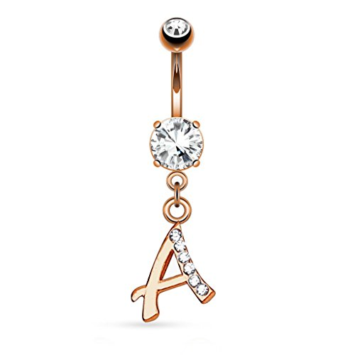 Rose Goldtone Letter A Initial Dangle Belly (Initial Belly Ring Letter)