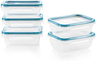 Snapware Total Solution Rectangular Plastic Meal Prep Food Storage Set (10-Piece, BPA Free, Meal Prep, Leak-Proof,...