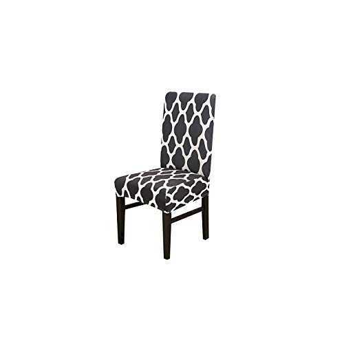 Print Flowers Universal Size Chair Cover Classic Chair Covers seat Cover for Home Dining Room Weddings Hotel Party Banquet,K245-Charcoal,Universal Size