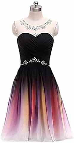 591e94e622e FWVR Ombre Short Prom Dresses for Juniors Beads Gradient Homecoming Party  Dress 2019
