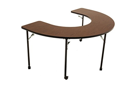 "AmTab - AF6000C - Wheelchair Accessible, Managed Care, Feeder Activity Table, Horseshoe, Casters, Folding Legs, 48"" W x 72"" L x 32"" H, Multiple Color Options Available"