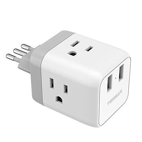 Italy Power Adapter, TESSAN US to Italy Plug Adapter with 2 USB, Type L Italy Travel Adaptor, Electrical Outlet Plug Adapter for Italian Uruguay Chile Rome