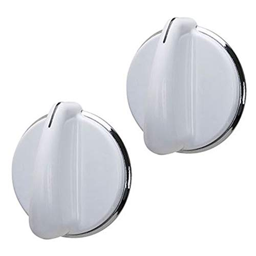 HASMX 2-Pack Washer Dryer Selector Replacement Knob for GE 175D3296 General Electric 175D3296P001 - White Silver Knob