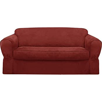Maytex Piped Suede 2 Piece Sofa Slipcover, Red