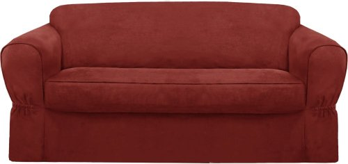 MAYTEX Piped Suede 2-Piece Sofa Furniture Cover/Slipcover, Red (Cushions Types Of Sofa)