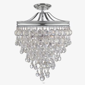Crystorama 130-VZ_CEILING Crystal Three Light Semi-Flush from Calypso collection in Bronze/Darkfinish, (Mount Forward Light Ceiling 3)