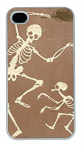 High Quality Fashion White Plastic Case for iPhone 4 Generation Back Cover Case for iPhone 4S with Funny Skulls