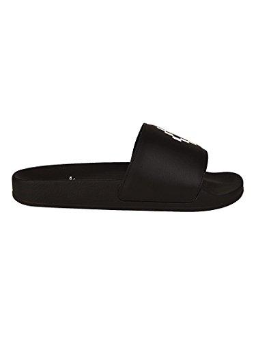 MARCELO BURLON Black Pool Sliders with White Logo Print Nero CMIA027S18725096