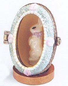 Bunny in Shadowbox Easter Egg Porcelain Hinged Box