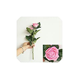 Smileshop01 1pc 2 Heads Rose Flower Artificial Flowers Simulation Silk Flower Wedding Decoration Rose Bouquet Flower Home Decoration,hot Pink 1