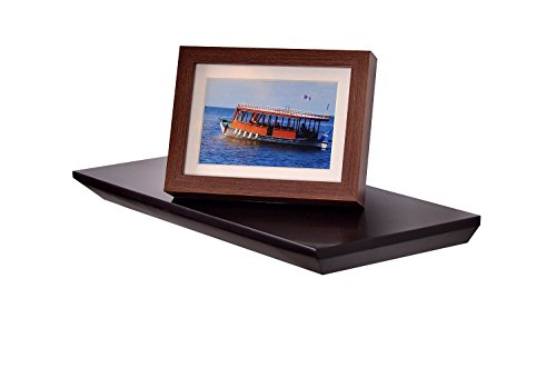Welland Beveled Display Wall Floating Shelf (Espresso, 24-Inch)