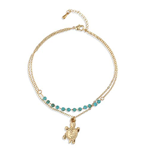 (Valloey Women Shell Anklet Multilayer Charm Beads Turquoise Sea Handmade Boho Dainty Foot Jewelry for Women and Teen Girls Summer Barefoot Beach Anklet)