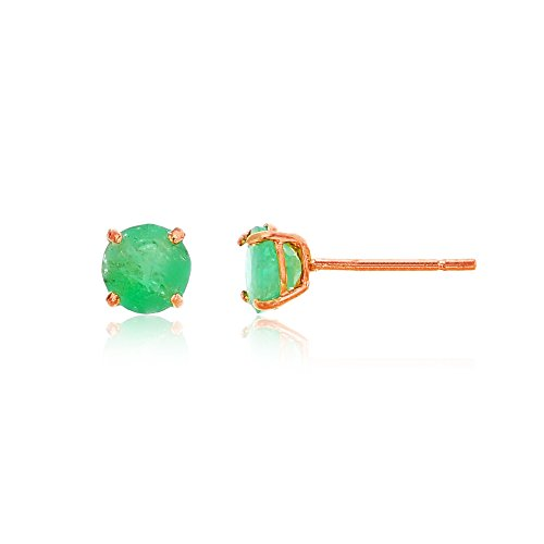 4mm Emerald Stud Earrings - 14K Rose Gold 4mm Round Gemstone Stud Earring (Emerald.)