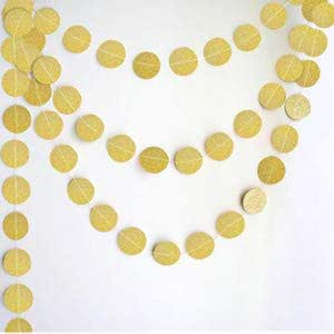 4M Gold Circle Dots Glitter Paper Garland Hanging for Wedding Birthday Party Decoration