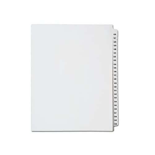 New Avery Collated Legal Index Dividers- Numbers 626 - 650, Letter Size, White, Mylar Tabs (1/Set) free shipping