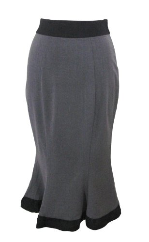 Vintage 60's Wiggle Office Lady Gray Pencil Bottom Ruffle Skirt