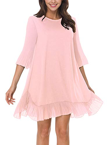 (Women Sundresses Casual Summer Loose Mini Short Swing Pleated Ruffle Bottom Bell 3/4 Slevee Cocktail Party Wedding Guest Spring Flowy Cute Dress Blush Pink S)